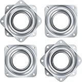 Onwon 4 Pieces 3 Inch Square Lazy Susan Turntable Bearings 150 Pound Capacity Galvanized Steel Rotating Bearing Plate Swivel Plate