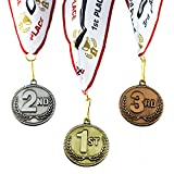 All Quality 1st 2nd 3rd Place High Relief Award Medals - 3 Piece Set (Gold, Silver, Bronze) Includes Custom Designed Neck Ribbon