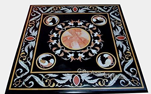 Mesa de centro cuadrada de mármol negro con incrustaciones de trabajo hecho a mano hermosa mirada de la mesa central de arte y manualidades indias de 30 pulgadas