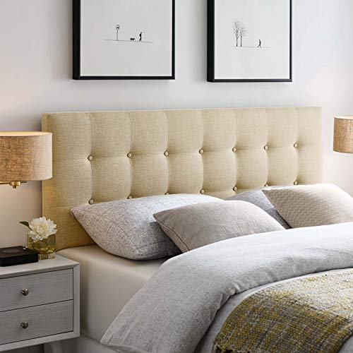 Modway Emily Tufted Button Linen Fabric Upholstered Full Headboard in Beige