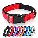 HEELE Collar Perro, Collar Nylon Reflectante Neopreno Forrado Ajustable para Perro Grande, Rojo, L