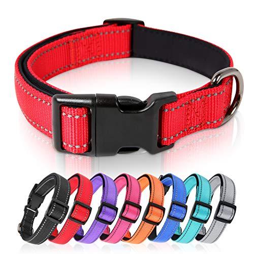 HEELE Hundehalsband, Hundehalsband aus Nylon, Reflektierend Halsband Hund mit Weich Neopren Gepolstert für Welpen Kleine Mittel Große Hunde, Rot, L
