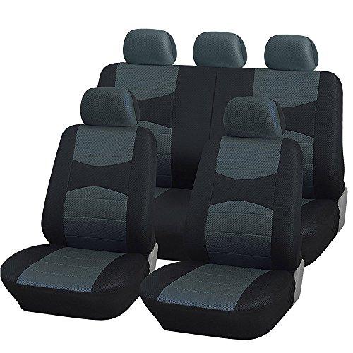 Rebeca Shop Coprisedili Auto universali con Copri Volante e Copri Cintura in Tinta, per Auto con Sedili Medio Piccoli - A18 (Grigio)