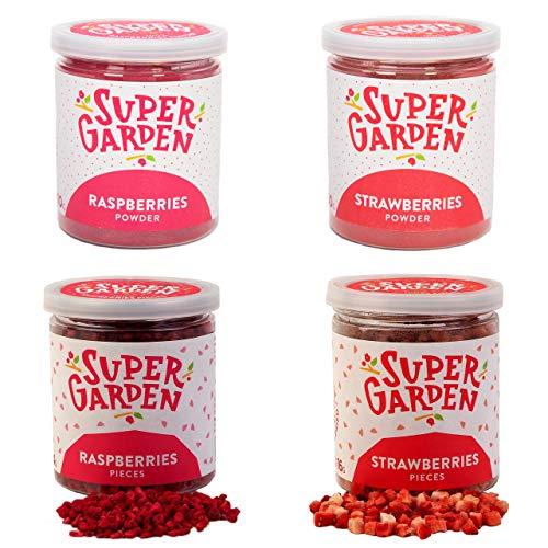 Supergarden Streusel-Set - Gefriergetrocknete Himbeeren Und Erdbeeren In Stückchen Und Pulver - 100% Rein Und Natürlich - Für Veganer Geeignet - Ohne Zuckerzusatz- Glutenfrei