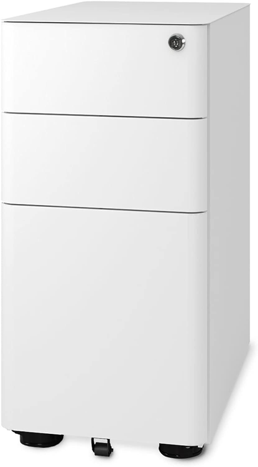 DEVAISE 3-Drawer Slim Mobile File Cabinet with Lock, Legal Letter Size, White