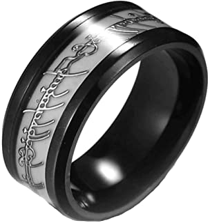 خواتم من الستانلس ستيل بشريط يتوهج في الظلام للرجال او النساء او الازواج - مجوهرات عصرية من جينجر لين - بعرض 8 ملم