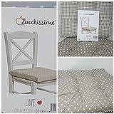 Love Set 6 Cuscini coprisedia Cucina Pois Bianco Fondo Tortora 40×40 Spessore 5 cm Double Face, Copri Sedia Cucina, Alfionapoli