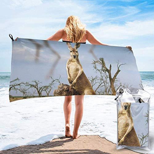 Toalla de Playa 27.5 'X 55',Hippo Kangaroo Arena Ultra Suave Microfibra Portátil Absorbente de Agua Microfibra múltiple Sin Arena Toalla de Playa Manta