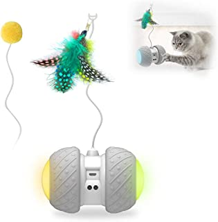 Goolsky Cat Toys Interactive Toy Automatic Cat Toy Automatic Rolling Toy for Cats Sense Obstacles Automatically with Color...