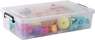 WYCD Boîte De Rangement Dessous De Lit avec Couvercle Plastique Transparent 72 * 39 * 15cm