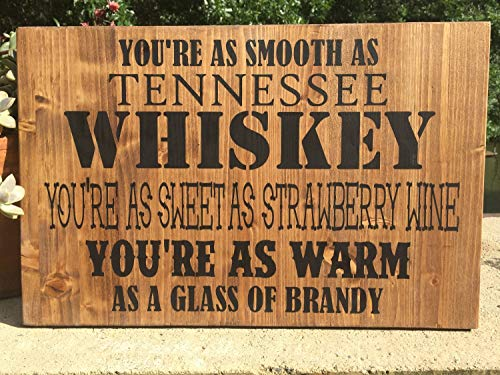 Yilooom Chris Stapleton Tennessee Whiskey Bar Sign,Rustic Bar Sign,Country Music Lyrics,Strawberry Wine,Nashville Sign,Man Cave Sign - 14x24 Inches