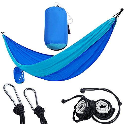 Portale doppia campeggio amaca amaca in nylon leggero portatile con cinghie e moschettoni