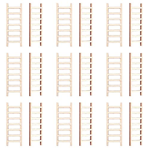 NBEADS 50 escaleras de jardín de hadas sin terminar, adornos de madera para colgar, manualidades para casa de muñecas, decoración de paisajes
