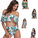 VNMG Women Plus Size Two Piece High Waisted Bikini Color Bikini Ruffled Swimsuits Tummy Control Bathing Suits (Safflower on Black,XL)