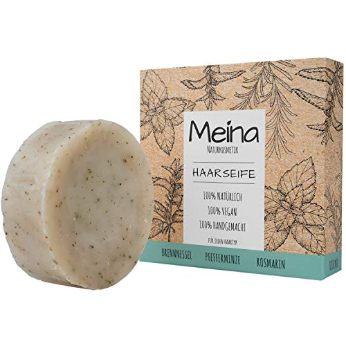 Meina - Bio Haarseife Naturkosmetik, Vegan Shampoo Bar mit Brennnessel & Pfefferminze, festes Shampoo - Palmölfrei, Plastikfrei (1 x 80 g)