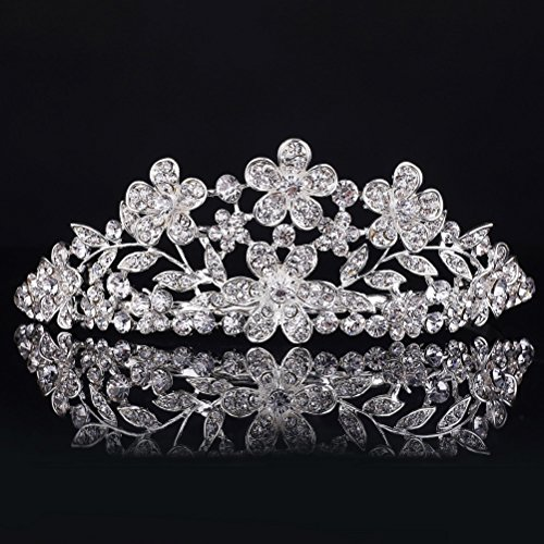 Pixnor Brautkrone, Diadem, Strass, glänzend, Tiara für Braut & Hochzeit, Haarschmuck