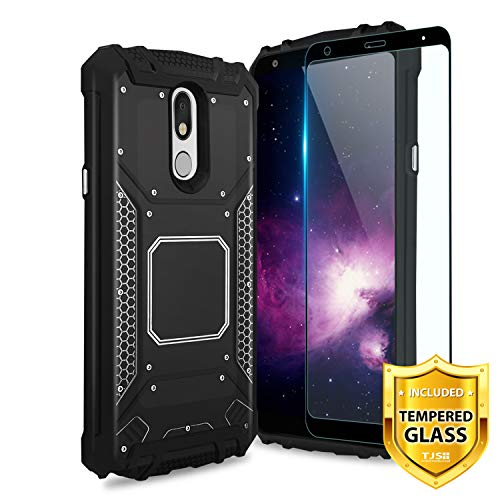 TJS Phone Case for LG Stylo 5/Stylo 5 Plus/Stylo 5V/Stylo 4/Stylo 4 Plus/Q Stylus Plus/Q Stylus Alpha, with [Full Coverage Tempered Glass Screen Protector] Aluminum Magnetic Support Cover (Black)