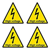 dealzEpic - Yellow Triangle High Voltage Electric Shock Risk Warning Sign - Self Adhesive Peel and Stick Vinyl Sticker - 3.94 x 3.94 inches | Pack of 4 Pcs