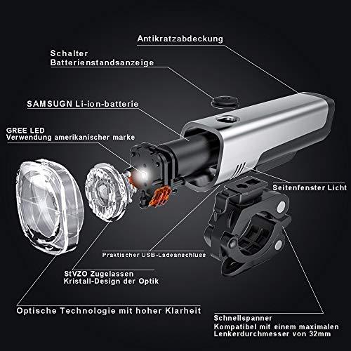 LIFEBEE LED Fahrradlicht Set, StVZO Zugelassen USB Wiederaufladbare Fahrradbeleuchtung fahrradlichter Set, IPX5 Wasserdicht Frontlicht Rücklicht Fahrradlampe Set, 300Lumen Licht für Fahrrad - 3