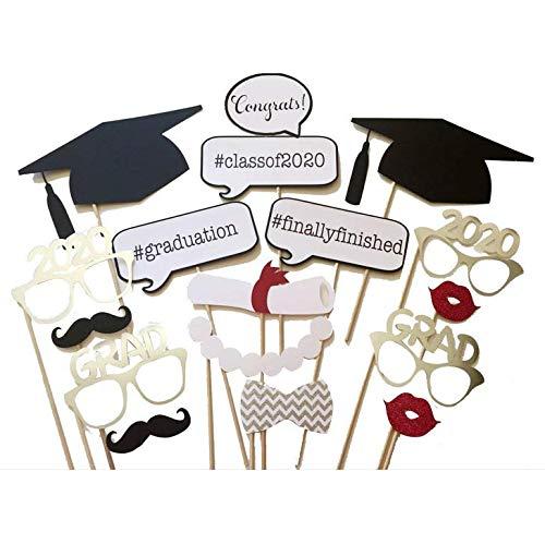 Losuya 2020 Graduazione Photo Booth Oggetti Di Scena 17 Pezzi Occhiali Baffi Labbra Rosse Papillon Per La Decorazione Del Partito Grad