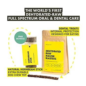 ROCKETO Friandise hygiène Dentaire Crue-déshydratée pour Chiens   Cible Plaque et tartre  pour des Dents et des gencives saines   pour Une haleine fraiche   Durée d'Utilisation – 6 semaines