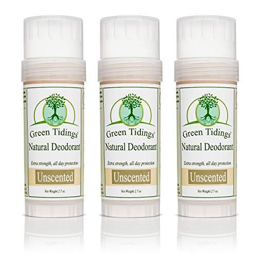 Green Tidings Natural & Unscented Deodorant   Vegan, Organic Deodorant for Men and Women, Fragrance Free & Aluminum Free Deodorant, Underarm Antiperspirant 2.7oz 3 Pack (15% Off)
