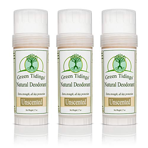 Green Tidings Natural & Unscented Deodorant | Vegan, Organic Deodorant for Men and Women, Fragrance Free & Aluminum Free Deodorant, Underarm Antiperspirant 2.7oz 3 Pack (15% Off)