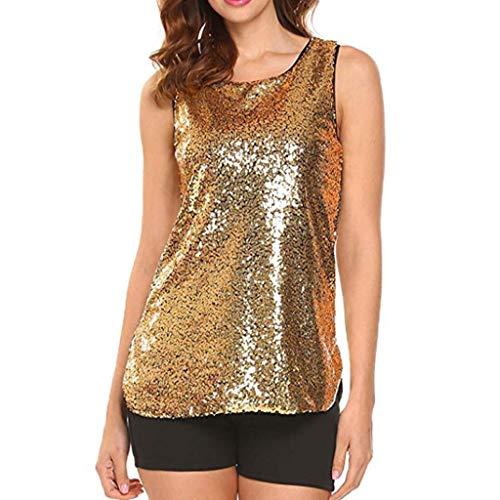 iHENGH Damen Top Bluse Bequem Lässig Mode T-Shirt Blusen Frauen Ärmellose Sparkle Shimmer Camisole Vest Pailletten Tanktops für Frauen(Gelb, M)