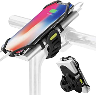 2-in-1 Portable Charger Bike Phone Mount, Bicycle Stem Handlebar Cell Phone Holder for iPhone Xs Max XR X 8 7 Plus Samsung Galaxy S10 S9 S8 Note 9 Smartphone, Bike Tie Pro-Pack (Black)