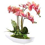 Briful Flor artificial de orquídea falsa de seda Phalaenopsis arreglo de flores de plástico falsas en maceta de cerámica blanca para decoración del hogar, oficina, boda