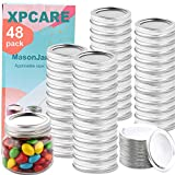 XPCARE 48 Pieces Canning Lids + 48 Pieces Rings Regular Mouth Mason Jar Split-Type Lids with Silicone Seals Rings Mason Storage Solid Caps