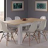 HABITMOBEL Conjunto 6 Sillas con Mesa de Comedor Extensible, Medidas: 140-190 cm (Largo) x 90 cm (Ancho) x 78 cm (Alto)