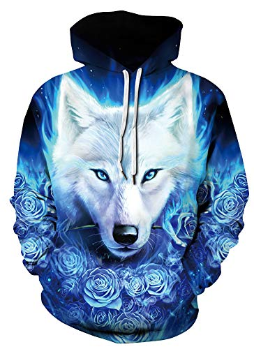 Azuki 3D Graphic Ice Wolf Hoodie Sweatshirt for Men and Women-Size L