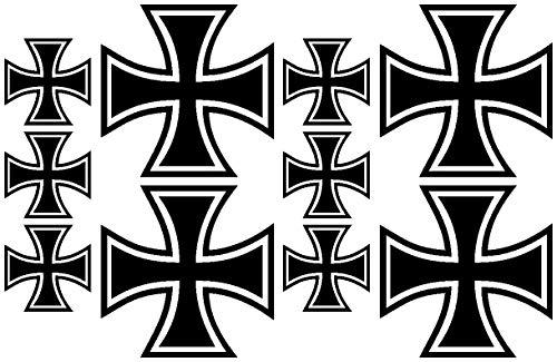 Samunshi® 10x Aufkleber Eisernes Kreuz im Set Bogen26x17cm schwarz