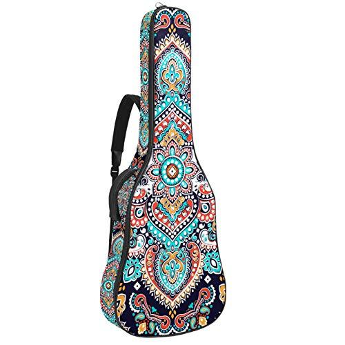 Funda de Guitarra Española Patrón de mandala cuadrado Bolsa Acolchada Para Guitarra Acústica con Asa de Transporte y Correa Para el Hombro 109x43x12cm