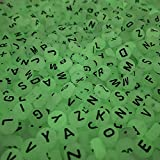 Yochus 1000pcs Translucent White UV Round Acrylic Alphabet Beads Glow in The Dark 4x7mm Black Letter A-Z Beads for Jewelry Making and DIY Bracelets, Necklaces, Key Chains