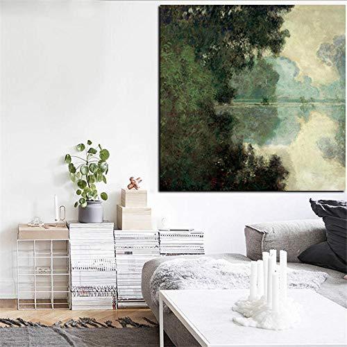 QianLei Print Claude Monet tak die zijn in de buurt van Giverny Landschap olieverfschilderij op canvas muurschildering voor woonkamer bank Cuadros-50X50_cm_unframed