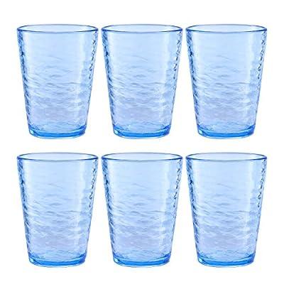 MARCUS HOME- Premium Acrylic Drinking Glass, Set of 6, 16.6 oz, BPA-Free, Ocean Blue