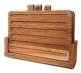 Juego de 3 tablas de cortar de roble con soporte de madera maciza, antibacterianas, higiénicas, surcos para zumo, accesorios de cocina para pan, carne, pescado, frutas y verduras, sin plástico