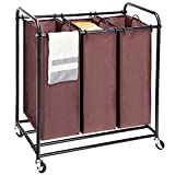 Amazon Brand - UMI Carrito de lavandería Carrito de lavandería con 3 Compartimentos para clasificadores y 4 Ruedas, 2 con Cerradura marrón