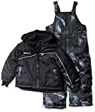 Skechers Boys' Big 2-Piece Heavyweight Snowsuit, Stretch Limo Black and Texture Print, 14/16