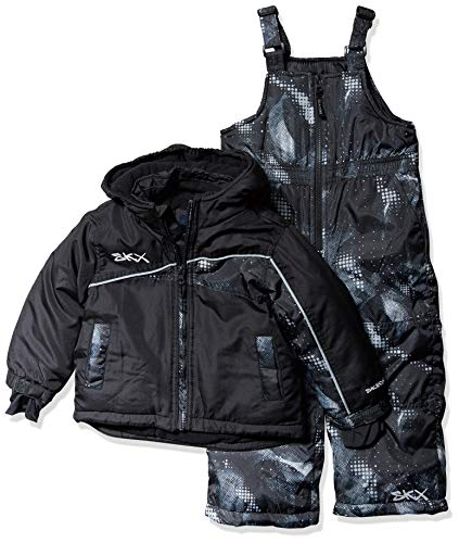 Skechers Boys' Toddler 2-Piece Heavyweight Snowsuit, Stretch Limo Black and Texture Print, 3T