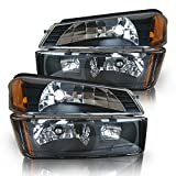 Headlight Assembly Compatible with 2002 2003 2004 2005 2006 Chevy Avalanche Body Cladding Model Headlamps Replacement pair with Signal Lights (Black)