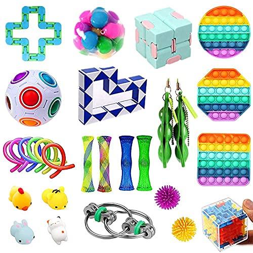 FURIENIDE 28 Pack Sensory Fidget Toys Set, Relieves Stress and Anxiety Fidget Toy, Stress Anxiety Relief Toys Set for Children Adults, Perfect for Classroom Reward, Birthday (Style-B)