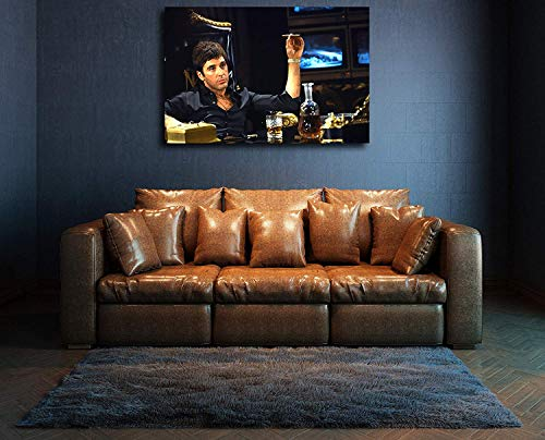 Paints & Prints Wall Al Pacino Scarface Premium The World is Yours 4 Wall Decor/Home Decoration Stretched Gallery Canvas Wrap Giclee Print Ready to Hang (16'x24')