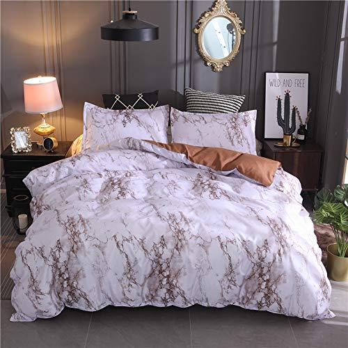 BIANXU Juego de funda de edredón con funda de almohada de estilo moderno nórdico con estampado de mármol y funda de almohada de 5 colores 220 x 240 cm + 2 fundas de almohada de 50 x 70 cm