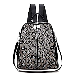 Gray Mini Small Backpack Sequin Texture Leopard Patternv