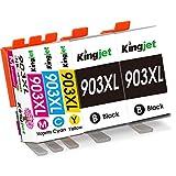 Kingjet New Chip 903XL Cartuchos compatibles de repuesto para HP 903 903XL Cartuchos de impresora para HP Officejet Pro 6950 6960 6970 Juego de cartuchos de impresora todo en uno 5 paquetes