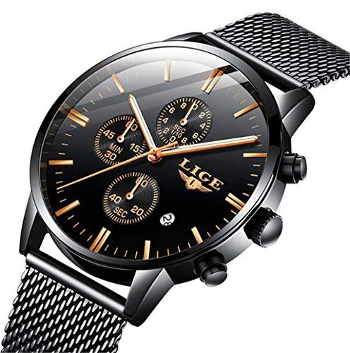 LIGE Relojes para Hombres, Deportes a Prueba de Agua de Moda Reloj analógico de Cuarzo,cronógrafo Negro del Calendario de la Malla del Acero Inoxidable de los Hombres