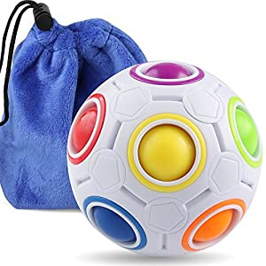 Coogam Rainbow Puzzle Ball with Pouch Color-Matching Puzzle Game Fidget Toy Stress Reliever Magic Ball Brain Teaser for Kids and Adults, Children, Boy, Girl Holiday by Coogam